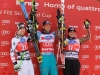 Norge's Aksel Lund Svindal, center, winner of an alpine ski, Men's World Cup downhill race, celebrates on the podium with second-placed Canada's Erik Guay, left, and third-placed Austri's Hannes Reichelt in Bormio   Marco Trovati-Pentaphoto